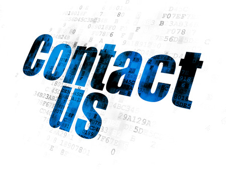 advertise with us: Marketing concept: Pixelated blue text Contact Us on Digital background Stock Photo