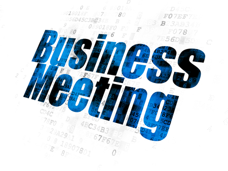pixelated: Finance concept: Pixelated blue text Business Meeting on Digital background Stock Photo