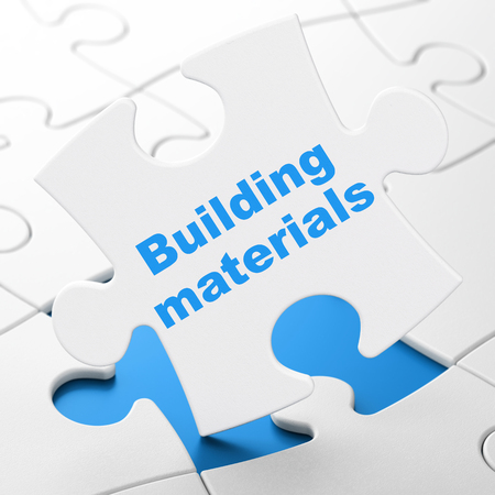 brainteaser: Construction concept: Building Materials on White puzzle pieces background, 3D rendering