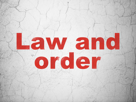 cement court: Law concept: Red Law And Order on textured concrete wall background