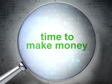 Time concept: magnifying optical glass with words Time to Make money on digital background, 3D rendering Stock Photo