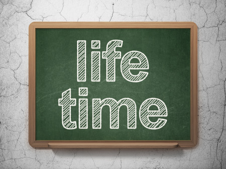 Time concept: text Life Time on Green chalkboard on grunge wall background, 3D rendering Stock Photo