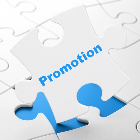 Advertising concept: Promotion on White puzzle pieces background, 3D rendering
