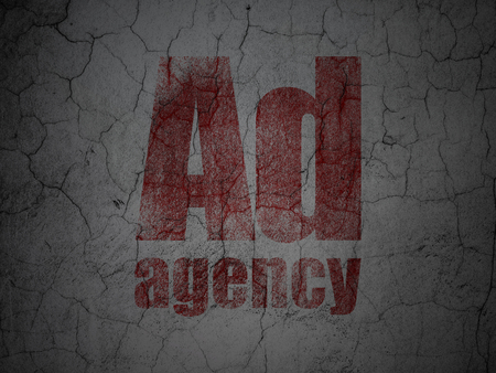 Marketing concept: Red Ad Agency on grunge textured concrete wall background