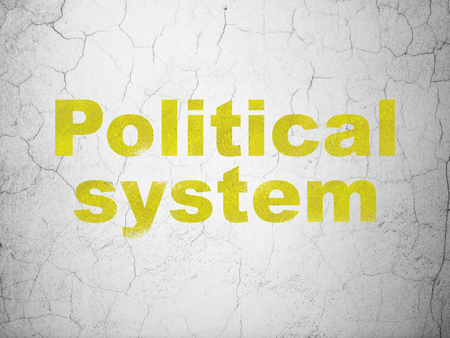 Political concept: Yellow Political System on textured concrete wall background
