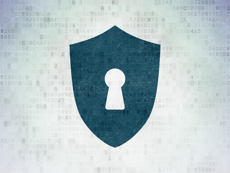 Protection concept: Painted blue Shield With Keyhole icon on Digital Data Paper background