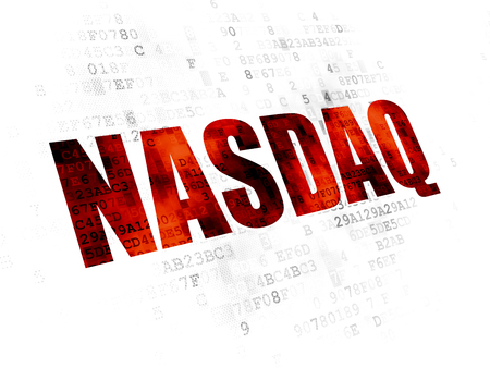 Stock market indexes concept: Pixelated red text NASDAQ on Digital background
