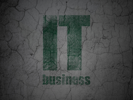 Business concept: Green IT Business on grunge textured concrete wall background