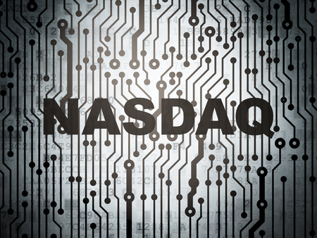 Stock market indexes concept: circuit board with word NASDAQ, 3D rendering