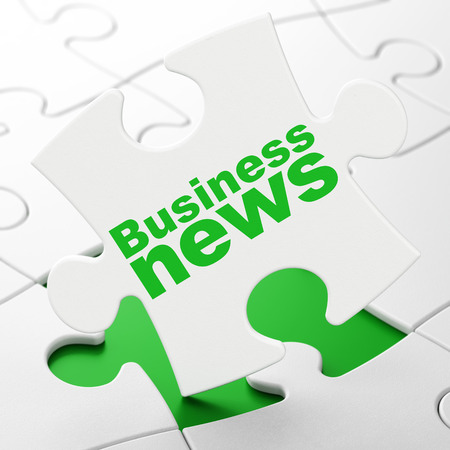 News concept: Business News on White puzzle pieces background, 3D rendering Stock Photo