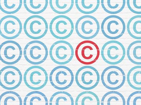 Wetsconcept: rijen van Geschilderde blauwe auteursrechtpictogrammen rond rood auteursrechtpictogram op Witte bakstenen muurachtergrond