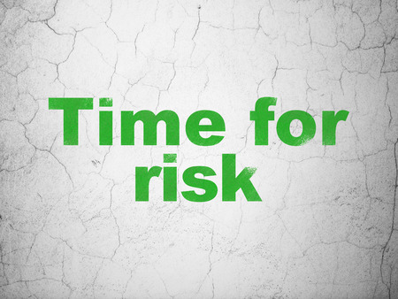 Timeline concept: Green Time For Risk on textured concrete wall background