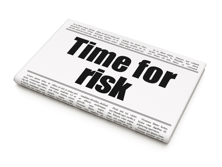 Timeline concept: newspaper headline Time For Risk on White background, 3D rendering