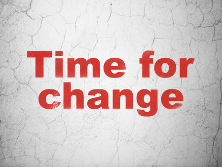 Time concept: Red Time For Change on textured concrete wall background Stock Photo