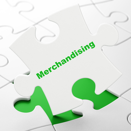 Advertising concept: Merchandising on White puzzle pieces background, 3D rendering Stock Photo