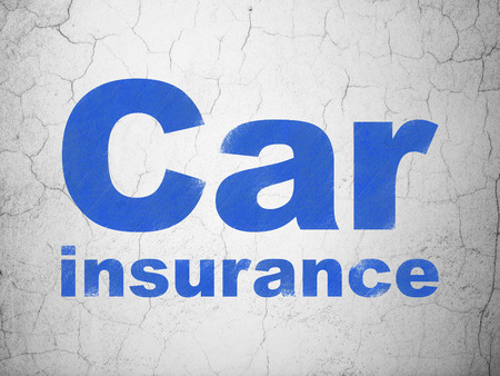 Insurance concept: Blue Car Insurance on textured concrete wall background Stock Photo