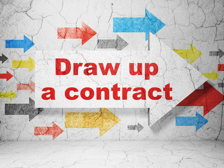 Law concept:  arrow with Draw up A contract on grunge textured concrete wall background, 3D rendering