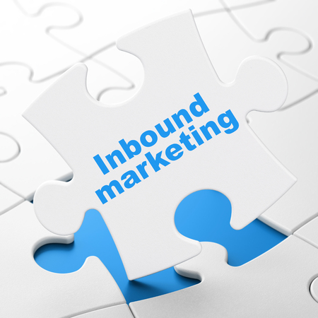 Marketing concept: Inbound Marketing on White puzzle pieces background, 3D rendering Stock Photo