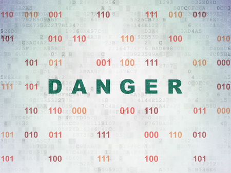 Privacy concept: Painted green text Danger on Digital Data Paper background with Binary Code Stock Photo