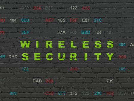 Safety concept: Painted green text Wireless Security on Black Brick wall background with Hexadecimal Code