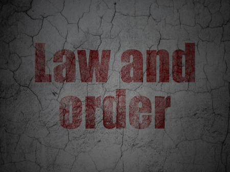 cement court: Law concept: Red Law And Order on grunge textured concrete wall background