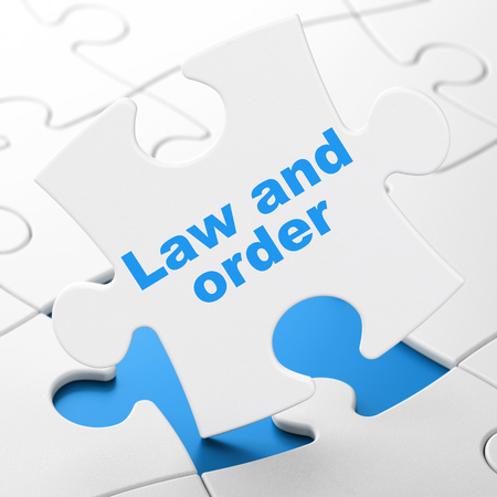 Law concept: Law And Order on White puzzle pieces background, 3D rendering