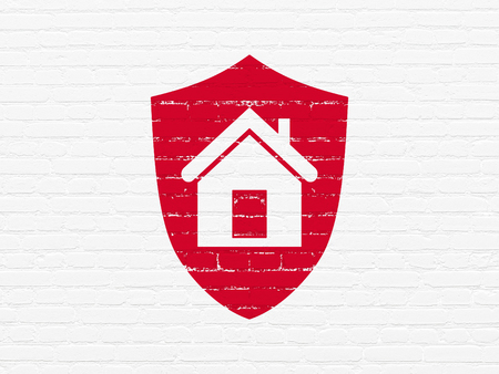 Business concept: Painted red Shield icon on White Brick wall background