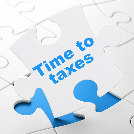 Timeline concept: Time To Taxes on White puzzle pieces background, 3D rendering
