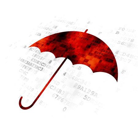 pin code: Safety concept: Pixelated red Umbrella icon on Digital background