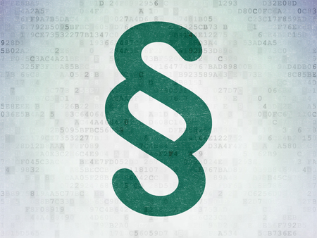 Law concept: Painted green Paragraph icon on Digital Data Paper background