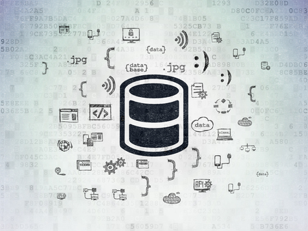 Database concept: Painted black Database icon on Digital Data Paper background with  Hand Drawn Programming Icons. Stock Photo