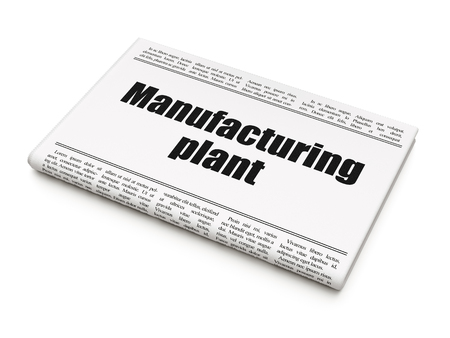 Manufacuring concept: newspaper headline Manufacturing Plant on White background, 3D rendering. Stock Photo