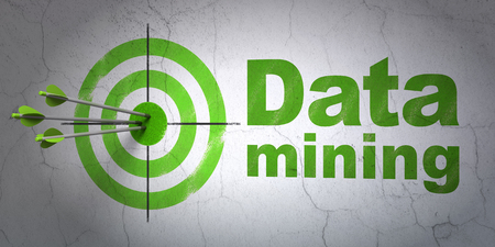 hit tech: Success Data concept: arrows hitting the center of target, Green Data Mining on wall background, 3D rendering Stock Photo