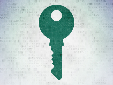 Safety concept: Painted green Key icon on Digital Data Paper background
