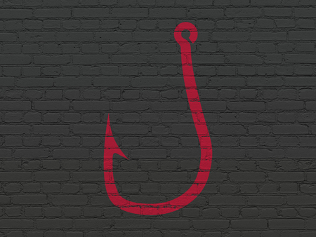Safety concept: Painted red Fishing Hook icon on Black Brick wall background