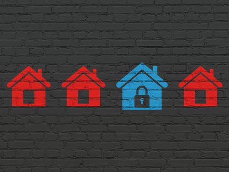 Safety concept: row of Painted red home icons around blue home icon on Black Brick wall background Stock Photo