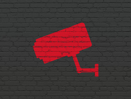 Safety concept: Painted red Cctv Camera icon on Black Brick wall background
