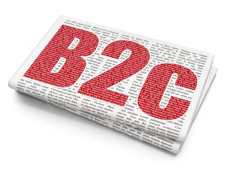 Finance concept: Pixelated red text B2c on Newspaper background, 3D rendering Stock Photo