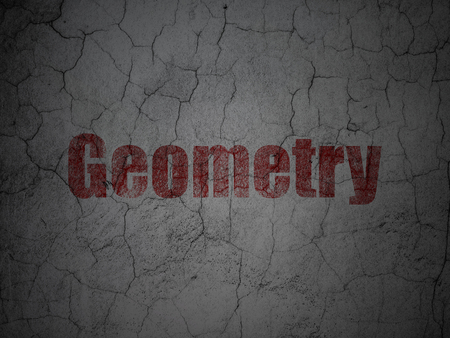 weathered: Studying concept: Red Geometry on grunge textured concrete wall background Stock Photo