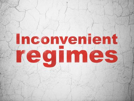inconvenient: Politics concept: Red Inconvenient Regimes on textured concrete wall background