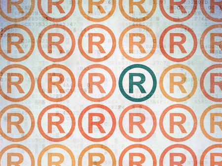 Law concept: rows of Painted orange registered icons around green registered icon on Digital Data Paper background