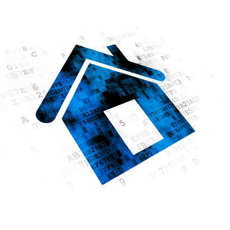Business concept: Pixelated blue Home icon on Digital background