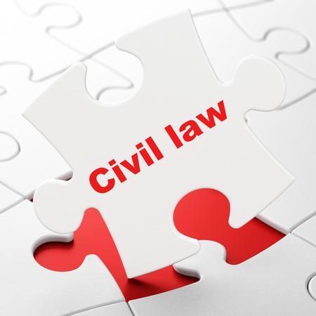 Law concept: Civil Law on White puzzle pieces background, 3D rendering