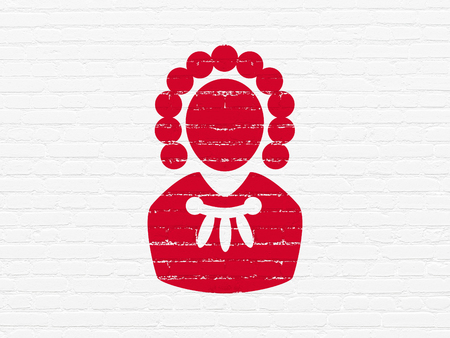 building regulations: Law concept: Painted red Judge icon on White Brick wall background