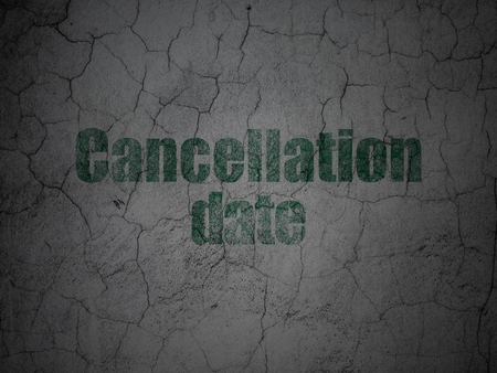 Law concept: Green Cancellation Date on grunge textured concrete wall background Stock Photo