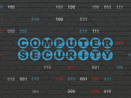 Protection concept: Painted blue text Computer Security on Black Brick wall background with Binary Code