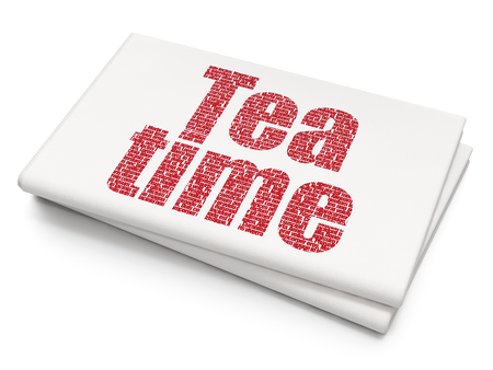 Time concept: Pixelated red text Tea Time on Blank Newspaper background, 3D rendering Stock Photo