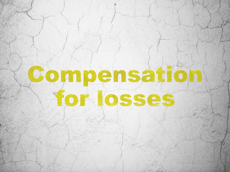 Currency concept: Yellow Compensation For losses on textured concrete wall background Stock Photo