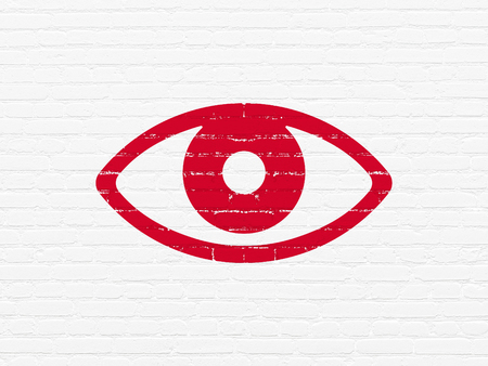 Safety concept: Painted red Eye icon on White Brick wall background