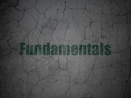 weathered: Science concept: Green Fundamentals on grunge textured concrete wall background Stock Photo